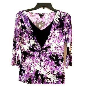 Purple floral 3/4 Sleeve Top M